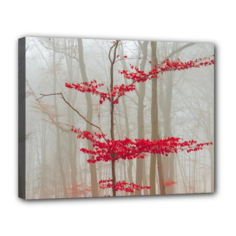 Magic Forest In Red And White Canvas 14  X 11  by wsfcow