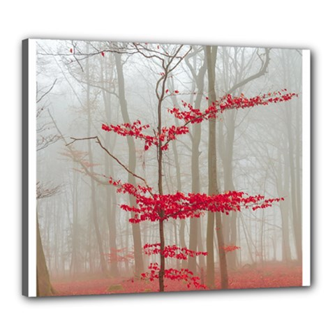 Magic Forest In Red And White Canvas 24  X 20