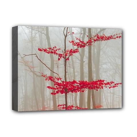 Magic Forest In Red And White Deluxe Canvas 16  X 12   by wsfcow
