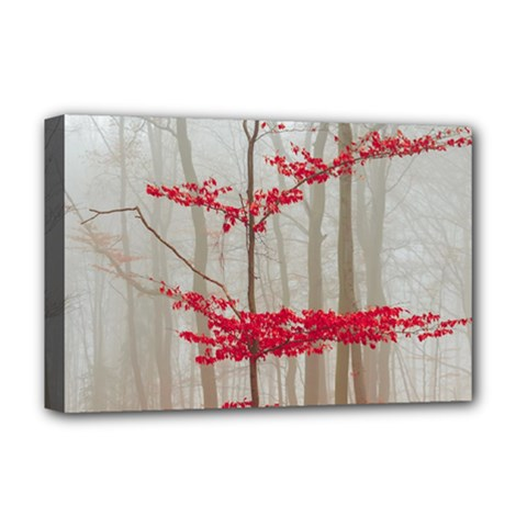 Magic Forest In Red And White Deluxe Canvas 18  X 12   by wsfcow