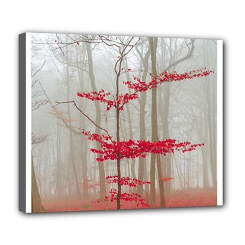 Magic Forest In Red And White Deluxe Canvas 24  X 20   by wsfcow
