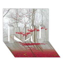 Magic Forest In Red And White I Love You 3d Greeting Card (7x5) by wsfcow