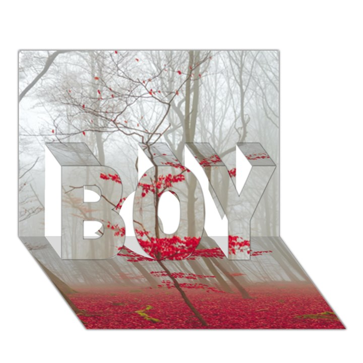 Magic forest in red and white BOY 3D Greeting Card (7x5)