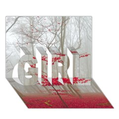 Magic Forest In Red And White Girl 3d Greeting Card (7x5) by wsfcow