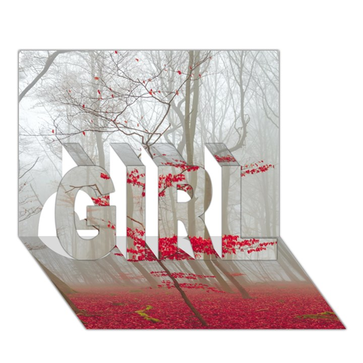 Magic forest in red and white GIRL 3D Greeting Card (7x5)