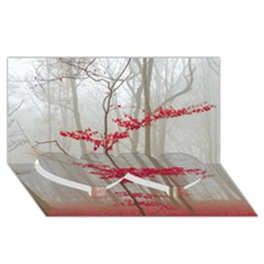 Magic Forest In Red And White Twin Heart Bottom 3d Greeting Card (8x4)