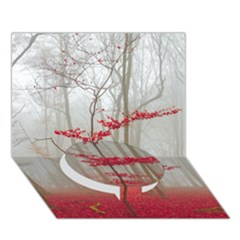 Magic Forest In Red And White Circle Bottom 3d Greeting Card (7x5) by wsfcow