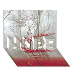 Magic Forest In Red And White Hope 3d Greeting Card (7x5) by wsfcow