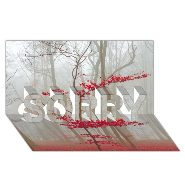 Magic forest in red and white SORRY 3D Greeting Card (8x4)