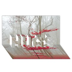 Magic Forest In Red And White Hugs 3d Greeting Card (8x4)