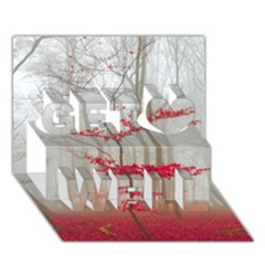 Magic Forest In Red And White Get Well 3d Greeting Card (7x5) by wsfcow