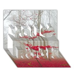 Magic Forest In Red And White You Rock 3d Greeting Card (7x5) by wsfcow