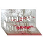 Magic forest in red and white Merry Xmas 3D Greeting Card (8x4)
