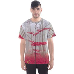 Magic Forest In Red And White Men s Sport Mesh Tee by wsfcow