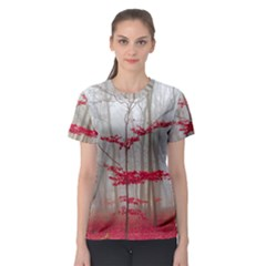 Magic Forest In Red And White Women s Sport Mesh Tee