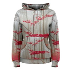 Magic Forest In Red And White Women s Pullover Hoodie by wsfcow