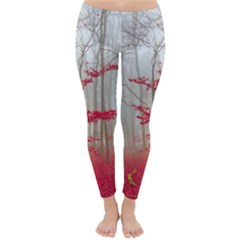 Magic Forest In Red And White Winter Leggings  by wsfcow