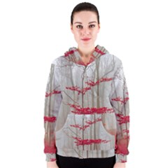 Magic Forest In Red And White Women s Zipper Hoodie