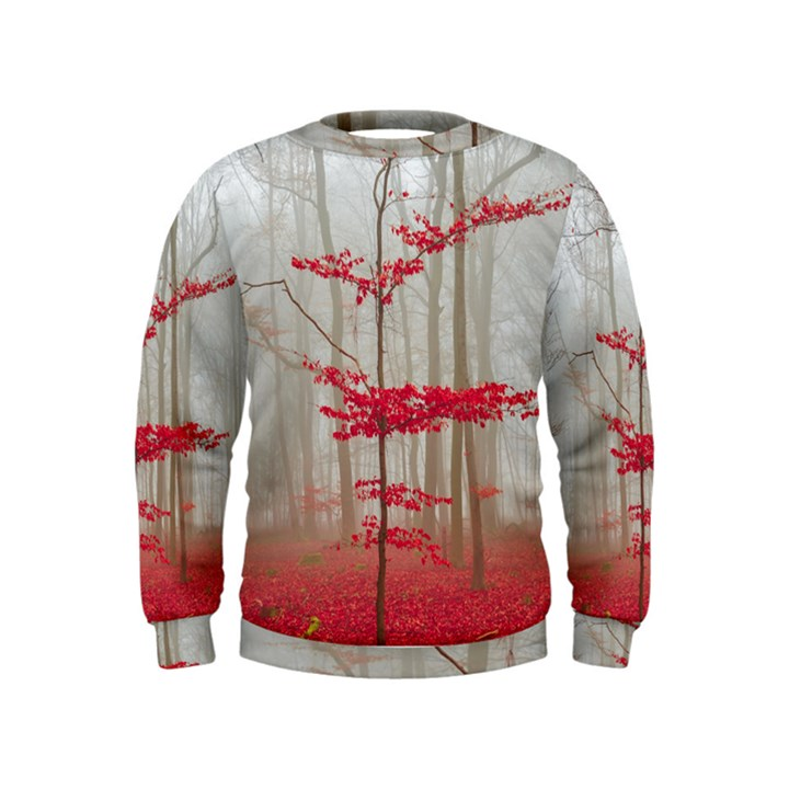 Magic forest in red and white Kids  Sweatshirt