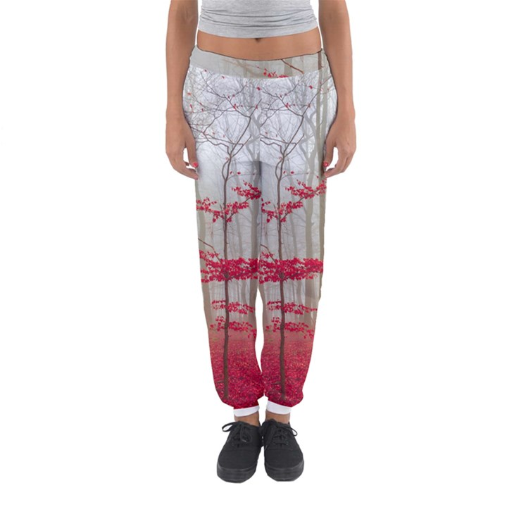 Magic forest in red and white Women s Jogger Sweatpants