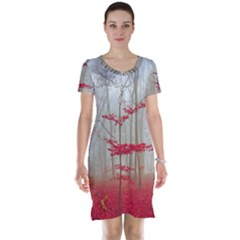 Magic Forest In Red And White Short Sleeve Nightdress by wsfcow