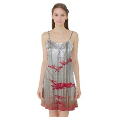 Magic Forest In Red And White Satin Night Slip by wsfcow