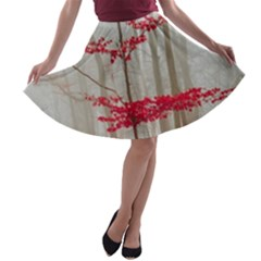 Magic Forest In Red And White A Line Skater Skirt by wsfcow