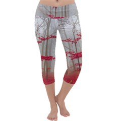Magic Forest In Red And White Capri Yoga Leggings by wsfcow