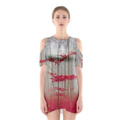 Magic Forest In Red And White Cutout Shoulder Dress by wsfcow