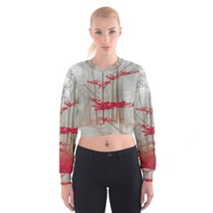 Magic Forest In Red And White Women s Cropped Sweatshirt by wsfcow