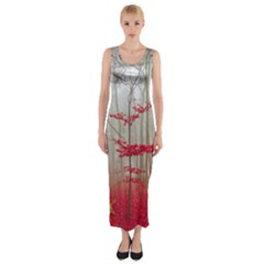 Magic Forest In Red And White Fitted Maxi Dress by wsfcow