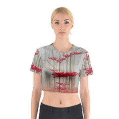 Magic Forest In Red And White Cotton Crop Top