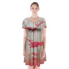 Magic Forest In Red And White Short Sleeve V Neck Flare Dress