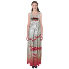Magic Forest In Red And White Empire Waist Maxi Dress by wsfcow