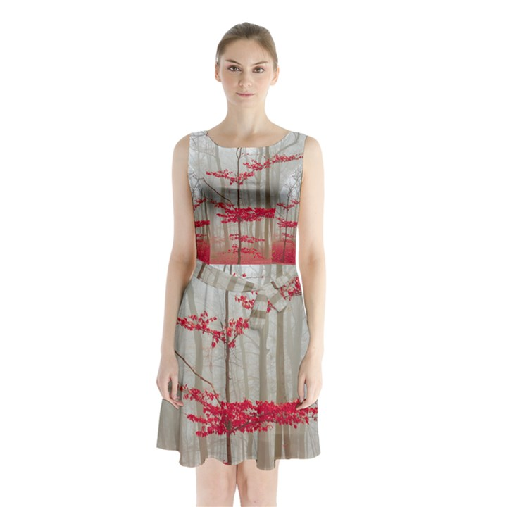 Magic forest in red and white Sleeveless Chiffon Waist Tie Dress