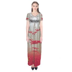 Magic Forest In Red And White Short Sleeve Maxi Dress by wsfcow
