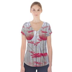 Magic Forest In Red And White Short Sleeve Front Detail Top