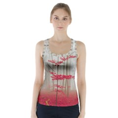 Magic Forest In Red And White Racer Back Sports Top by wsfcow