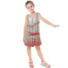 Magic Forest In Red And White Kids  Sleeveless Dress by wsfcow