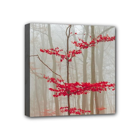 Magic Forest In Red And White Mini Canvas 4  X 4  by wsfcow