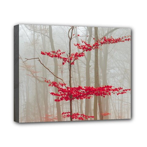 Magic Forest In Red And White Canvas 10  X 8  by wsfcow