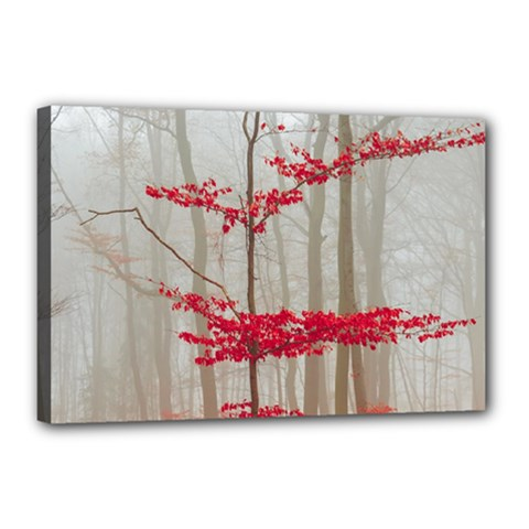 Magic Forest In Red And White Canvas 18  X 12  by wsfcow