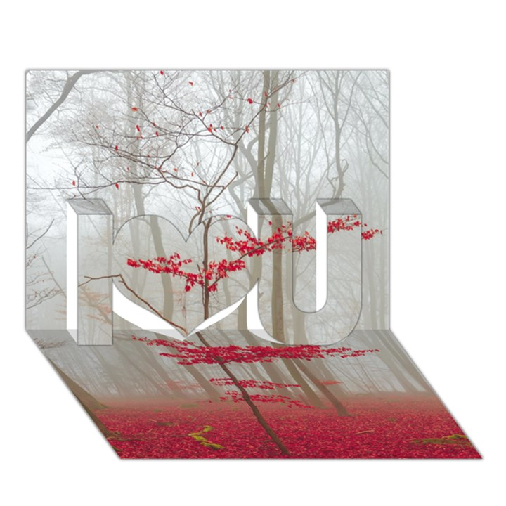 Magic Forest In Red And White I Love You 3D Greeting Card (7x5)