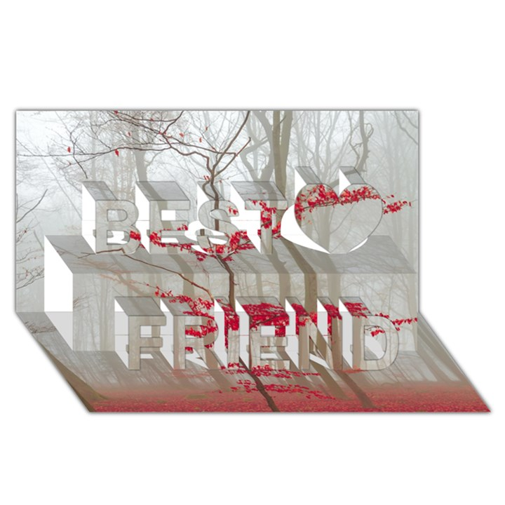 Magic Forest In Red And White Best Friends 3D Greeting Card (8x4)
