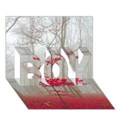 Magic Forest In Red And White Boy 3d Greeting Card (7x5) by wsfcow