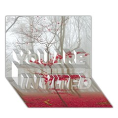 Magic Forest In Red And White You Are Invited 3d Greeting Card (7x5) by wsfcow
