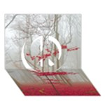 Magic Forest In Red And White Peace Sign 3D Greeting Card (7x5)