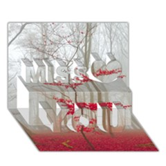 Magic Forest In Red And White Miss You 3d Greeting Card (7x5) by wsfcow