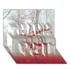 Magic Forest In Red And White Thank You 3d Greeting Card (7x5) by wsfcow