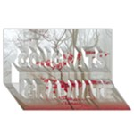 Magic Forest In Red And White Congrats Graduate 3D Greeting Card (8x4)
